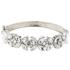 Mikey Silver Tone Crystal Set Flower Design Bangle - Product number 5715342