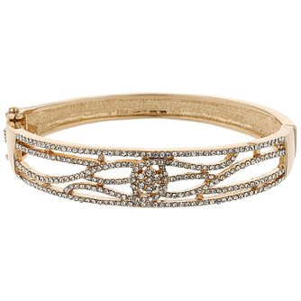 Mikey Gold Tone Crystal Set Filigree Spiral Bangle - Product number 5715423
