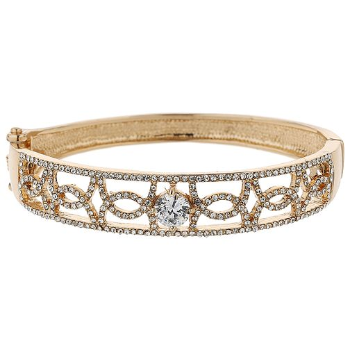 Mikey Gold Tone Cubic Zirconia Set Crossover Bangle - Product number 5715458