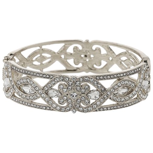 Mikey Silver Tone Crystal Set Spiral Filigree Bangle - Product number 5715512