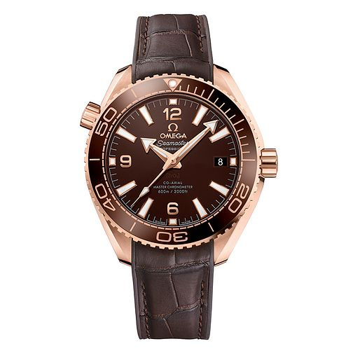 Omega Seamaster Men's 18ct Rose Gold Brown Strap Watch - Product number 5724244