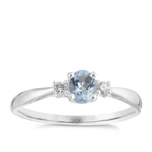 240de2cd08d4c 9ct White Gold Aquamarine and Diamond Ring