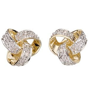 9ct Gold Diamond Open Knot Stud Earrings - Product number 5745969