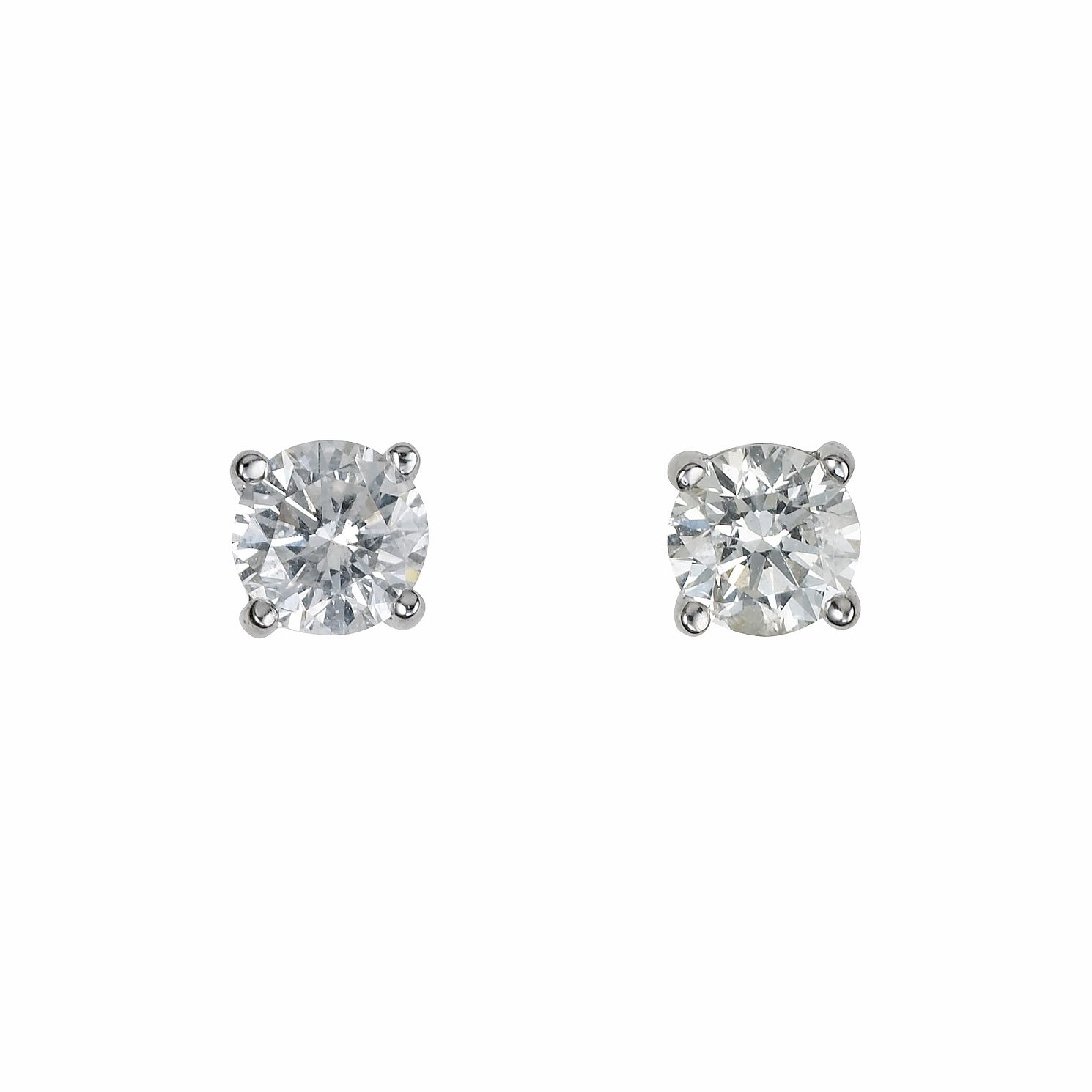 18ct White Gold 1/2ct Diamond Solitaire Stud Earrings - Product number 5778247