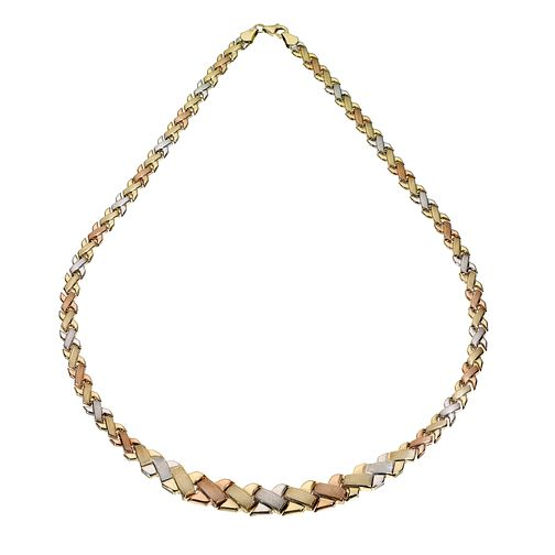 9ct Three Colour Gold Kiss Necklace - Product number 5812550