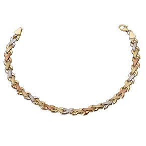9ct Three Colour Gold Kiss Bracelet - Product number 5812666