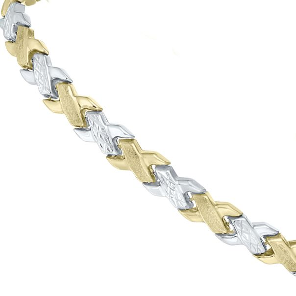 9ct Two-Colour Gold Matt & Polished Bracelet - Product number 5812674