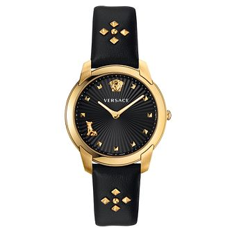Versace Audrey Ladies' Black Studded Leather Strap Watch - Product number 5821924