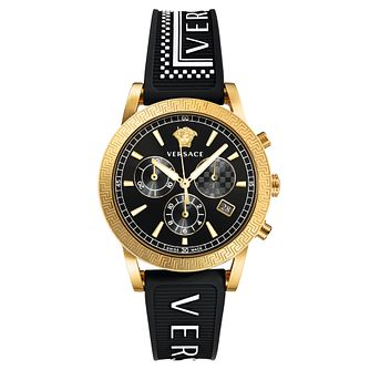 Versace Sport Tech Black Rubber Logo Strap Watch - Product number 5822246