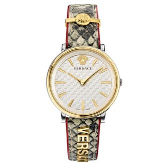Versace V-Circle Ladies' Patterned Leather Strap Watch - Product number 5823226