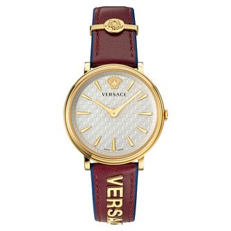 Versace V-Circle Ladies' Red Leather Strap Watch - Product number 5823234