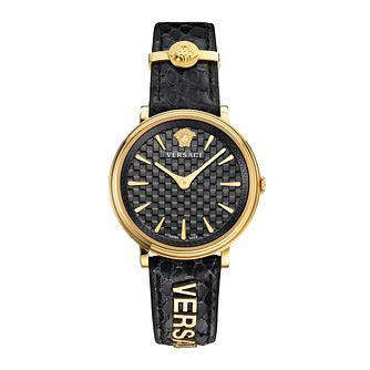 Versace V-Circle Logomania Black Strap Watch - Product number 5823838