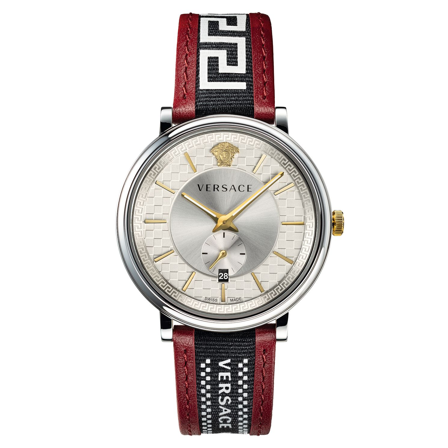 Versace V-Circle Men's Red Patterned Leather Strap Watch - Product number 5824001
