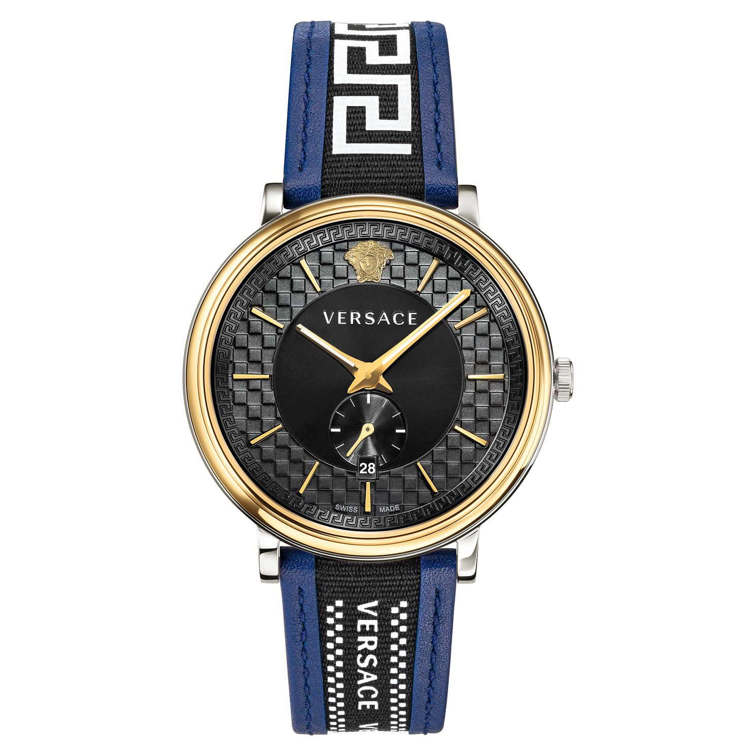 Versace V-Circle Men's Blue Patterned Leather Strap Watch - Product number 5824087