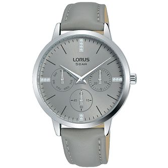 Lorus Multi-Dial Ladies' Grey Leather Strap Watch - Product number 5824532