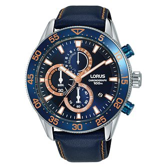 Lorus Chronograph Men's Dark Blue Leather Strap Watch - Product number 5824583