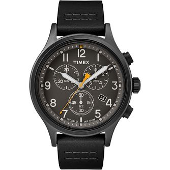 Timex Allied Men's Black Leather Strap Watch - Product number 5825857