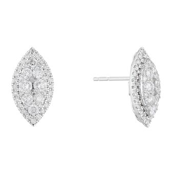 18ct White Gold 1ct Diamond Marquise Cluster Stud Earrings - Product number 5827140