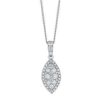 18ct White Gold 1ct Total Diamond Marquise Cluster Pendant - Product number 5827159