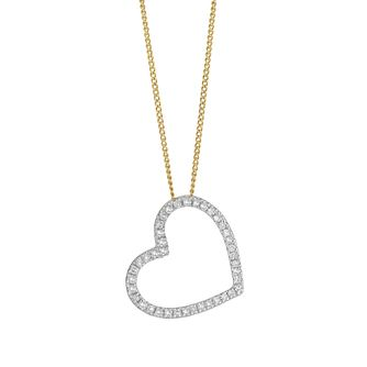 9ct Yellow Gold 0.15ct Diamond Open Heart Pendant - Product number 5827183