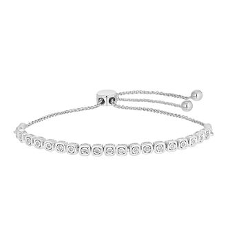Silver 1/10ct Diamond Adjustable Bracelet - Product number 5827345