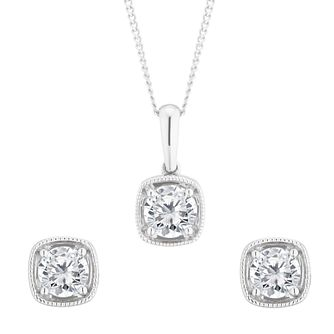 9ct White Gold 2/3ct Diamond Jewellery Gift Set - Product number 5827388