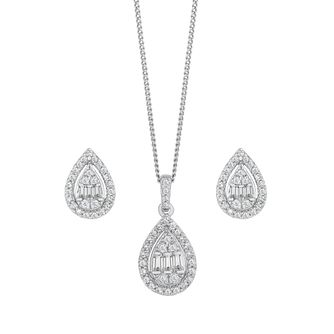 9ct White Gold 1/2ct Diamond Pear Jewellery Gift Set - Product number 5827396