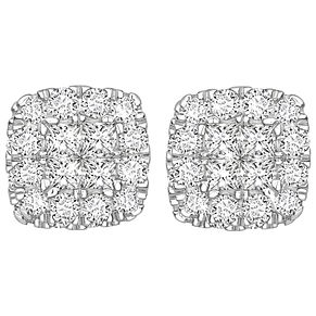 9ct White Gold 1/2ct Diamond Halo Earrings - Product number 5832861