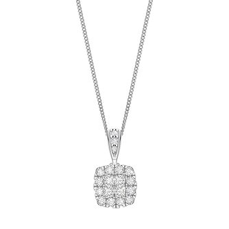 9ct White Gold 1/2ct Diamond Halo Pendant - Product number 5832918