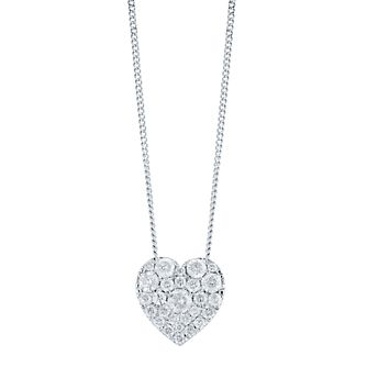 32b73564a33 9ct White Gold 0.50ct Diamond Heart Pendant - Product number 5832926