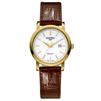 Roamer Ladies' White Dial Brown Croc Leather Strap Watch - Product number 5837235