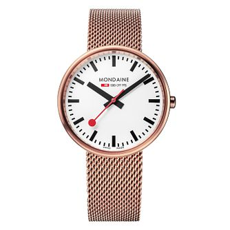 Mondaine SBB Mini Giant Ladies' Rose Tone Bracelet Watch - Product number 5837677