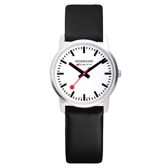 Mondaine SBB Simply Elegant Men's Black Leather Strap Watch - Product number 5837758
