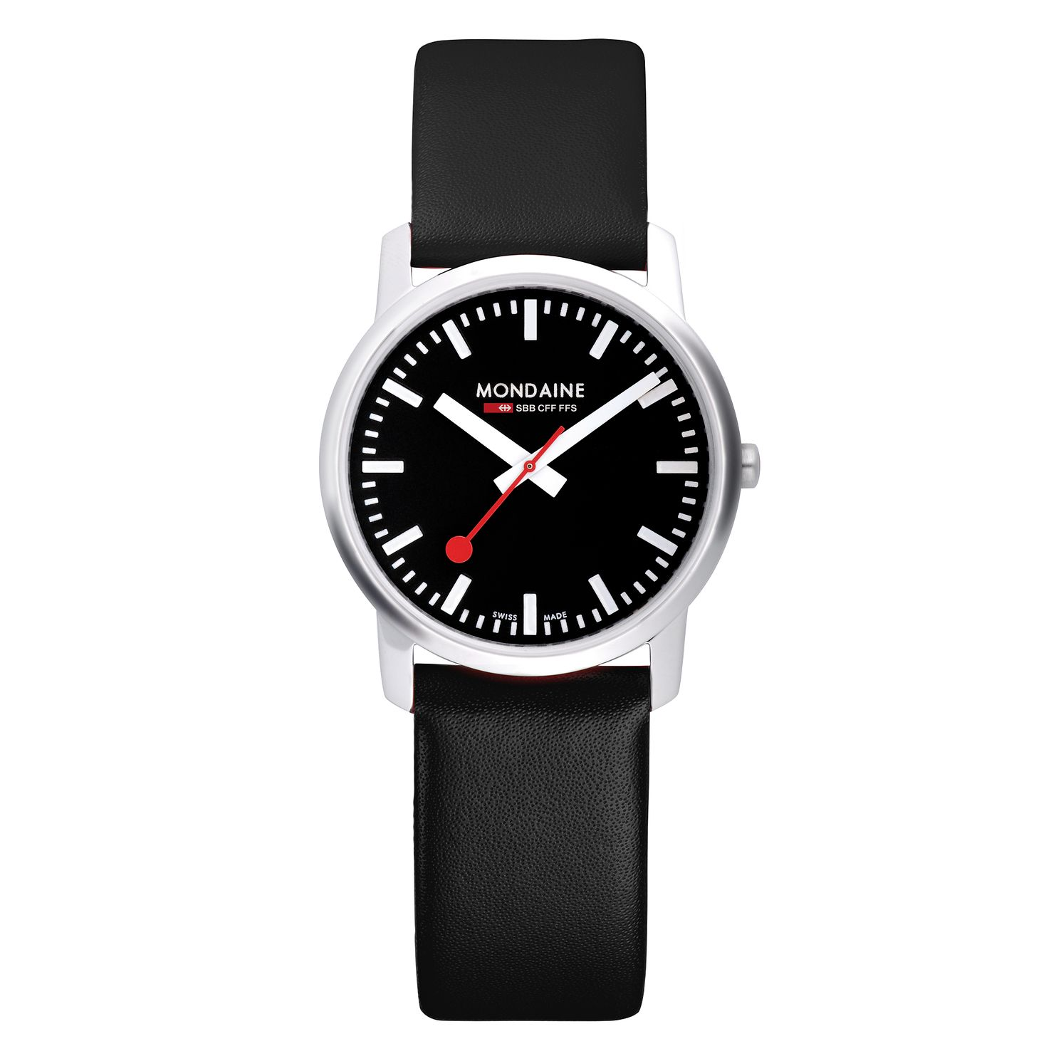 Mondaine SBB Simply Elegant Men's Black Leather Strap Watch - Product number 5837766