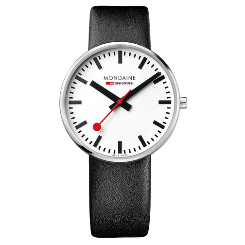 Mondaine SBB Giant Men's Black Leather Strap Watch - Product number 5837820