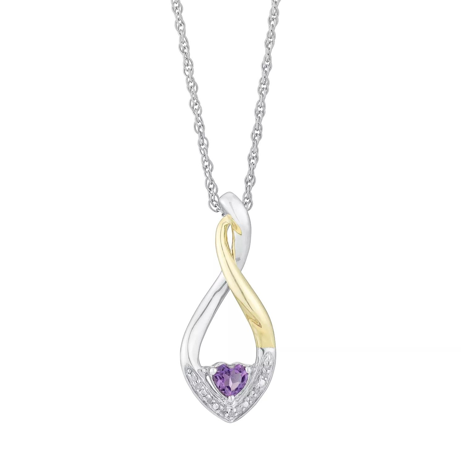 Sterling Silver & Yellow Gold Diamond & Amethyst Pendant - Product number 5839416