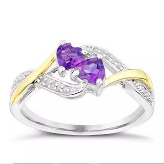 Sterling Silver & Yellow Gold Amethyst & Diamond Heart Ring - Product number 5839432
