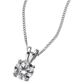 18ct White Gold 0.66ct G/H SI1 Diamond Pendant - Product number 5840309