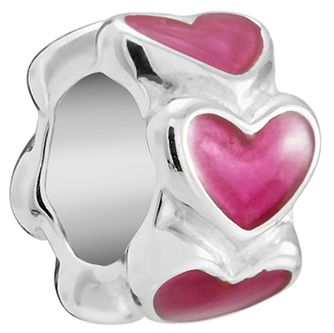 Chamilia Petite Heart Spacer Charm with Fuchsia Enamel - Product number 5845777