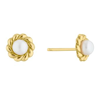 9ct Yellow Gold Freshwater Pearl Rope Twist Stud Earrings - Product number 5849500