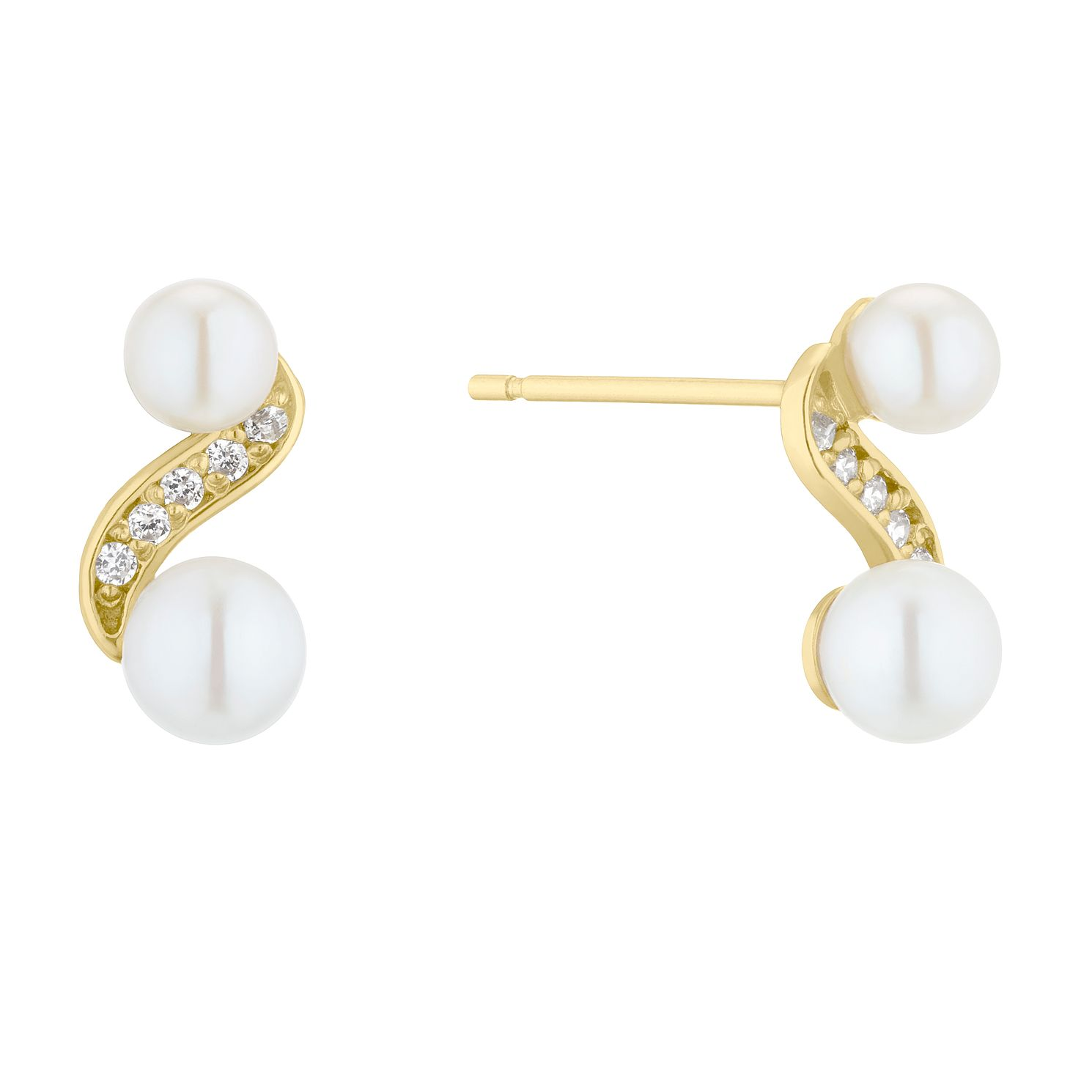 9ct Gold Cultured Freshwater Pearl & Cubic Zirconia Earrings - Product number 5849519