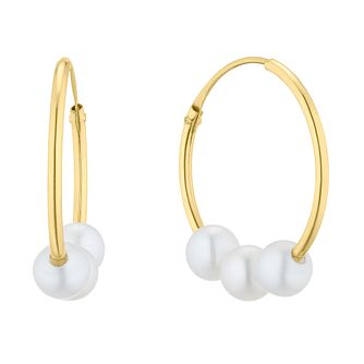 9ct Yellow Gold Cultured Freshwater Pearl Sleeper Earrings - Product number 5849667