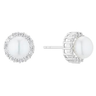 Silver Cultured Freshwater Pearl & Cubic Zirconia Earrings - Product number 5850231