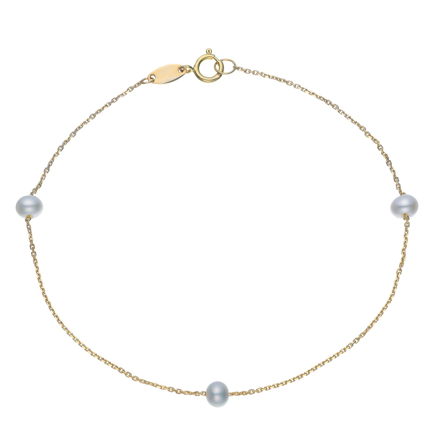 9ct Yellow Gold Cultured Freshwater Pearl Bracelet - Product number 5850258