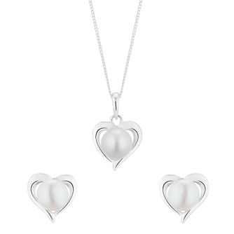 Silver Cultured Freshwater Pearl Heart Jewellery Gift Set - Product number 5850355