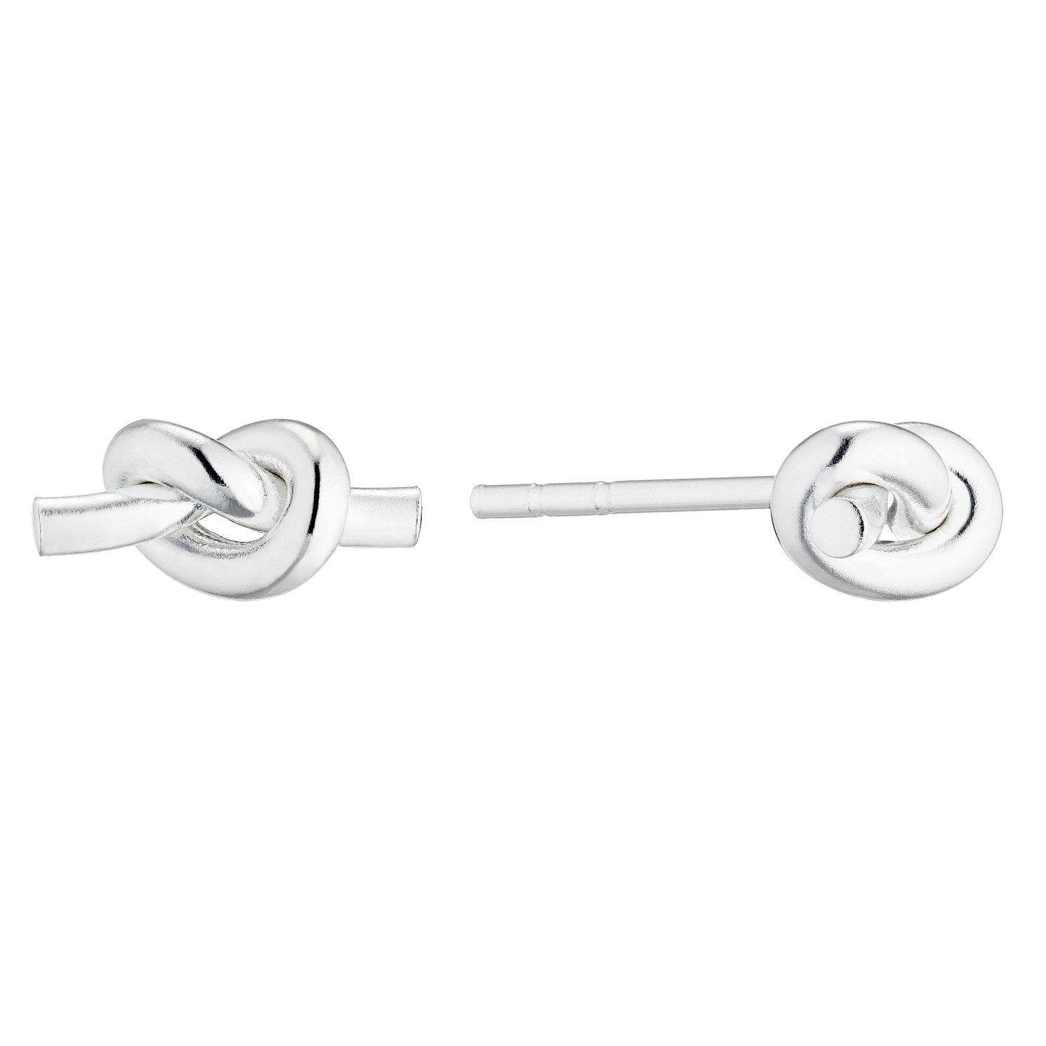 Silver Plain Knot Stud Earrings - Product number 5853591