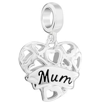 Chamila Sterling Silver 'Mum' Hanging Heart Charm - Product number 5853869