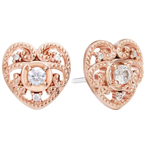 Chamila Rose Gold Electroplate Swirling Heart Earrings - Product number 5854237