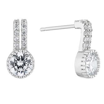 Silver Cubic Zirconia Halo Stud Earrings - Product number 5854431