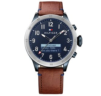 Tommy Hilfiger Men's Brown Leather Strap Smartwatch - Product number 5854954